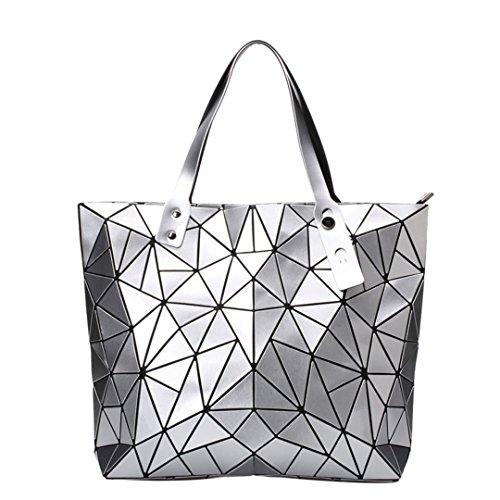 Bolso de las mujeres bolsos del bolso de hombro femenino de Bao Bolsos de las mujeres Bolso superior de la manija del holograma de la geometría del diseñador black Silver