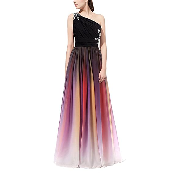 IWEMEK Womens Gradient Color Chiffon Prom Dress Bandage Maxi Dress Formal Bridesmaid Ball Gowns Cocktail Dress