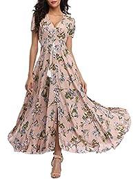 Women's Floral Maxi Dresses Boho Button Up Split Beach Party Dress
