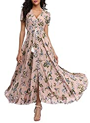 Vintageclothing Women S Floral Print Maxi Dresses Boho Button Up Split Beach Party Dress Pale Dogwood Xx Large
