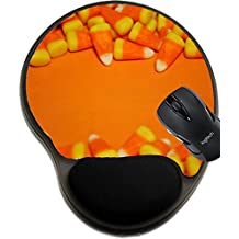 MSD Mousepad wrist protected Mouse Pads/Mat with wrist support candy corn borders on an orange background Image 16174131 Customized Tablemats Stain Resistance Collector Kit Kitchen Table Top DeskDrin