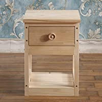 Log mini bedside table Simple modern Assembly Extra narrow bedside table Solid wood bedside bedroom table-A 40x30x42cm(16x12x17)