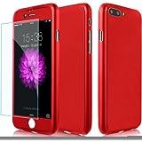 iPhone7ケース 全面保護 強化ガラスフィルム 360度フルカバー 衝撃防止 アイフォン7ケース おしゃれ 高級感 薄型 携帯カバー 耐衝撃 (iPhone7, レッド)