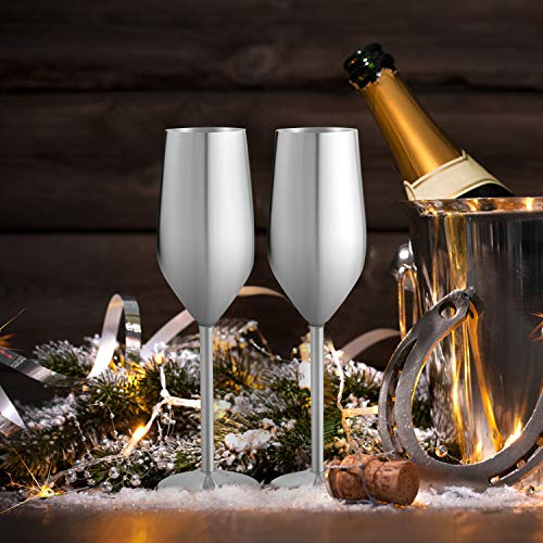 Stainless Steel Champagne Flutes Glass Set of 2, 200ML Unbreakable BPA Free Champagne Wine Glasses for Wedding, Parties and Anniversary (sliver)