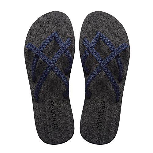 Chitobae Flip Flops Sandal for Women Blueberry 8 B(M) US