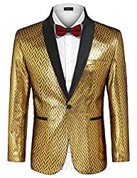 Men's Gold Silver One Button Suit Jacket