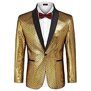 Best Epic Trends 51S7kAOys0L._SS300_ COOFANDY Men's Fashion Suit Jacket Blazer One Button Luxury Weddings Party Dinner Prom Tuxedo Gold Silver