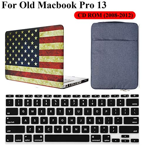 (Old MacBook Pro 13 Inch CD-ROM Case Model A1278 3 in 1 Bundle, iZi Way American Flag Case with Denim Carrying Sleeve Bag, Black Keyboard Cover for Mac Pro 13.3