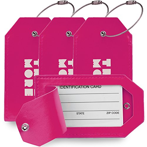 4 Pack TravelMore PU Leather Luggage Tags For Suitcases w/Privacy Cover - Travel ID Identifier Labels Set For Bags & Baggage - Men & Woman - Pink