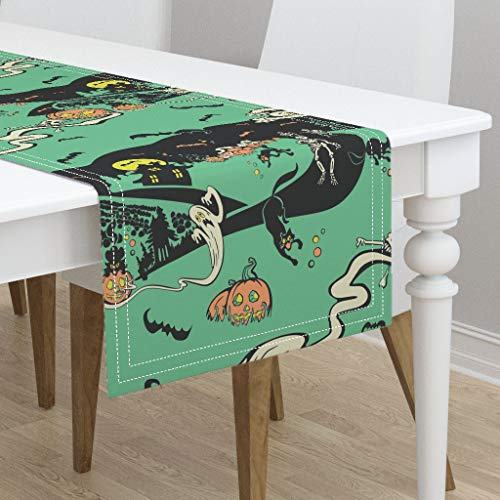 Table Runner - Horror Gothic Pumpkin Ghost Cats Vintage Halloween Bats by Nicoledobbins - Cotton Sateen Table Runner 16 x -