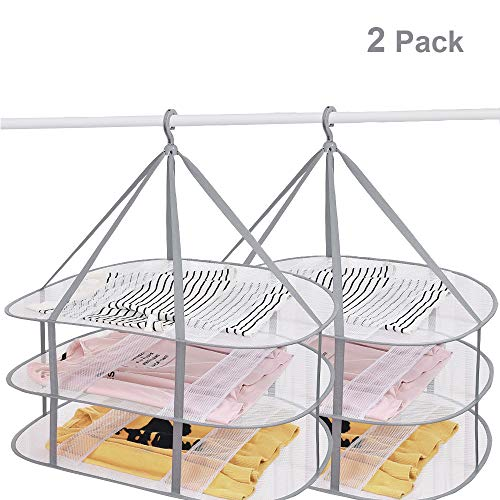SUNTRY (2 Pack) 3-Tier Folding Clothes Drying Rack, Windproof Foldable Cloth Dryer with Fixing Band, Collapsible Hanging Laundry Rack for Sweater - Outdoor, Indoor, Potable (Sweater Drying Rack Mesh)