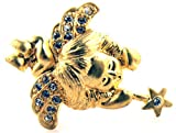 Gold Plated Rhinestone Crystal Cupid Angel Tie Tack Hat Lapel Pin