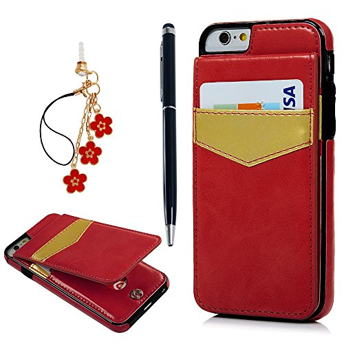 """iPhone 6S Case, iPhone 6 Case (4.7""""), YOKIRIN Vintage Synthetic Leather Wallet Case Heavy Duty Premium Handcrafted PU Durable Protective Cover with Kickstand Credit Card Slots Holder Skin Shell, Red"""