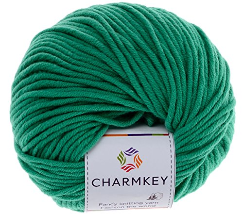 Charmkey Baby Cotton Yarn Simply Soft Boutique 4 Ply Medium Acrylic Blended Worsted Dungarees Knitting Yarn for Spring Summer Wear, 1 Skein, 1.58 Ounce (Green Lake)