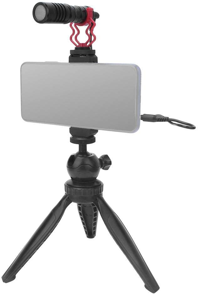 Black APS Audio Video Cardioid Microphone with Tripod Phone Clip 3.5mm Cables Windshield for Smartphone Tablet or Computer Mugast Interview Microphone