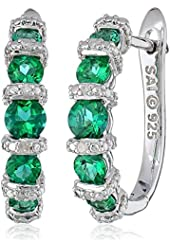 Sterling Silver, Created Emerald, and Diamond-Accented Hoop Earrings