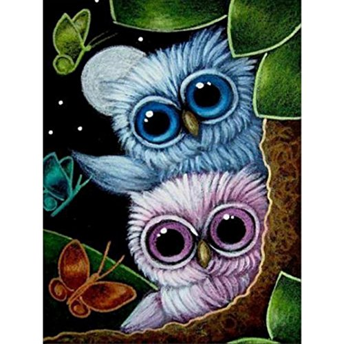 Price comparison product image Daoroka Diamond Painting Diy Kit Cross Stitch Kits Embroidery 5D Rhinestone Painting Animal Owl Crafts for Kids (20x25cm,  D)