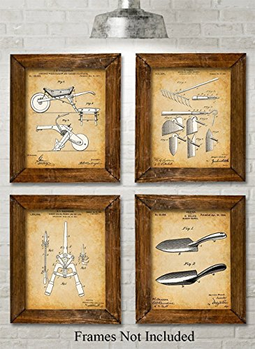 Original Garden Tools Patent Prints - Set of Four Photos (8x10) Unframed - Great Gift for Gardeners
