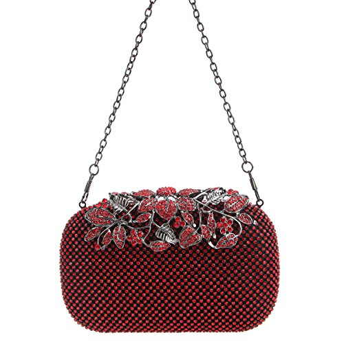 Flower Purses Rhinestones Red Evening Bags Bonjanvye with Crystal Clutch Red d5qwd