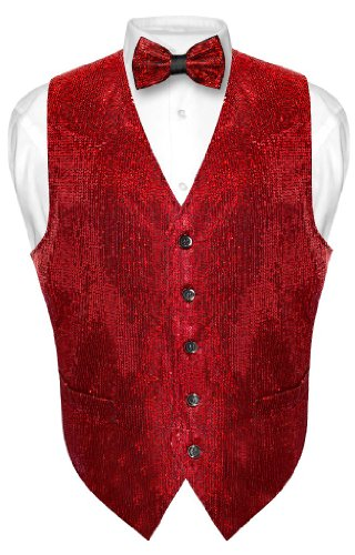 Men's SEQUIN Design Dress Vest & Bow Tie RED Color BOWTie Set size 3XL