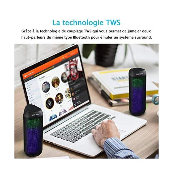 Enceinte Bluetooth Portable Lumineuse Haut-Parleur Bluetooth sans Fil avec LED Lumière Radio, Technologie TWS,2000mAh Autonomie 8-10H,Idéal la Maison, Camping,l'extérieur Les Voyages 7