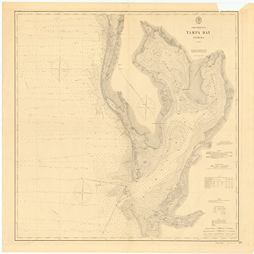 18 x 24 Canvas 1895 US old nautical map drawing chart of TAMPA BAY, FLORIDA From US Coast & Geodetic Survey x2471