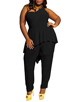 febef269c340 PengGeng Women s Plus Size One Shoulder Jumpsuit Playsuit Plain Harem Oversized  Romper Black 3XL