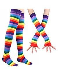 2 Pairs Colorful Rainbow Stripe Long Knit Gloves Socks Set Party Accessory