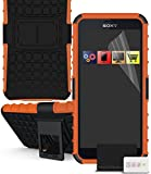 IWIO Sony Xperia Z3 Compact Orange Black Tough Hard Shock Proof Rugged Heavy Duty Case Cover with Viewing Stand and LCD Screen Protector Guard