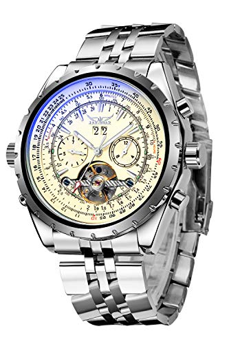 Gute Men Automatic Watch,Orkina Leisure Automatic Mechanical Wristwatch Golden Skeleton Luminous Hand (Beige)
