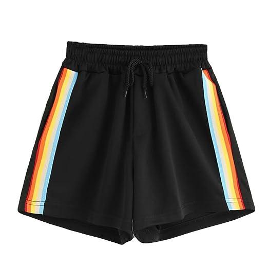 561a74968 Amazon.com: Clearance! Women Juniors Rainbow Striped Drawstring Elastic  High Waist Sport Yoga Shorts Summer Casual Hot Short Pants: Clothing