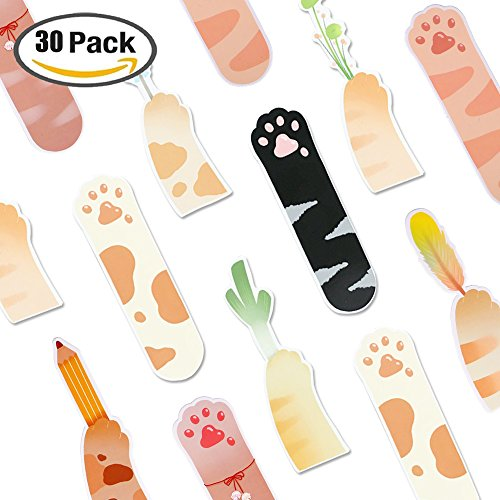Funny Cat's Paw Shaped Reading Colorful Cute Bookmarks, 30PCS,Novelty Personalized Paper Bookmarks for Kids Girls Boys Teens