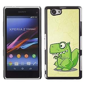QCASE / Sony Xperia Z1 Compact D5503 / dinosaurio dibujo reptil arte lindo verde / Delgado Negro Plástico caso cubierta Shell Armor Funda Case Cover
