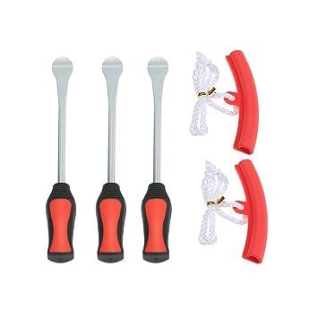 SODIAL 3 Herramienta de palanca de neumatico Cuchara + 2 llantas de ruedas Kit de herramientas para motocicleta Bicicleta Cambio de neumatico Extraccion: ...