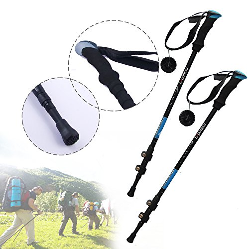 Go Into the Nature, Professional Carbonlite Anti Shock Hiking / Walking / Trekking Poles, 3 Sections 25/53 Inches Long, Quick...