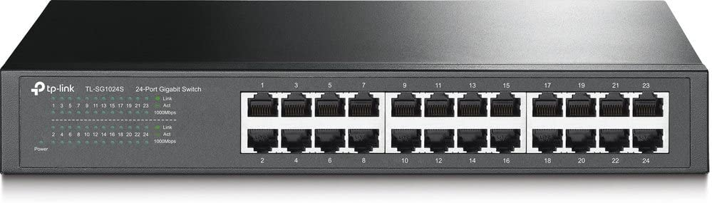 TP-Link 24 Port Gigabit Ethernet Switch | Desktop or Rackmount | Lifetime Protection | Plug & Play | Shielded Ports | Sturdy Metal | Fanless Quiet | Traffic Optimization | Unmanaged (TL-SG1024S)