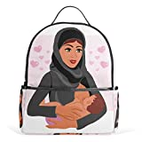 Top Carpenter Muslim Mother Holding Baby School Backpack Daypack Shoulder Bag 12.6x5x14.8in