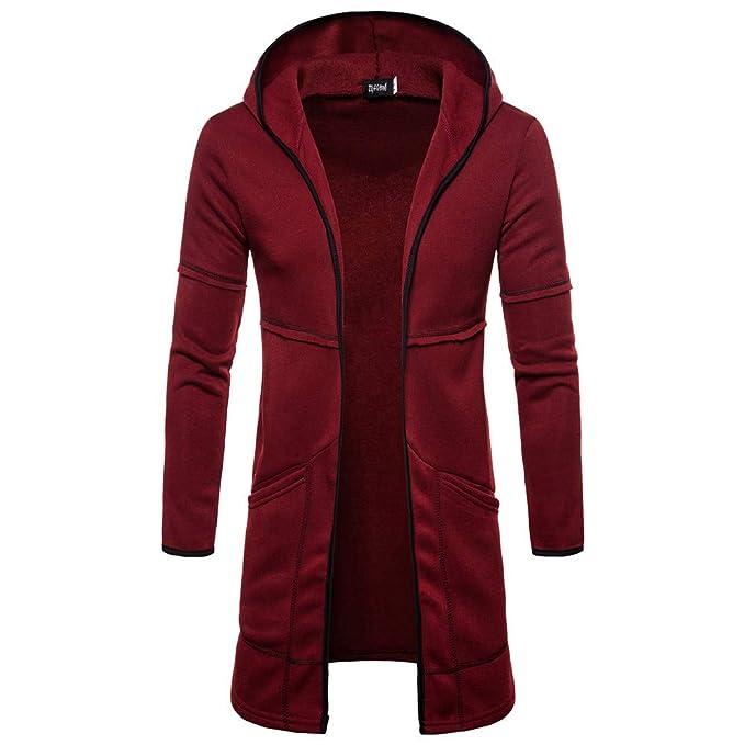 YanHoo Otoño e Invierno de 2018 Moda para Hombre con Capucha sólido Trench Coat Jacket Cardigan