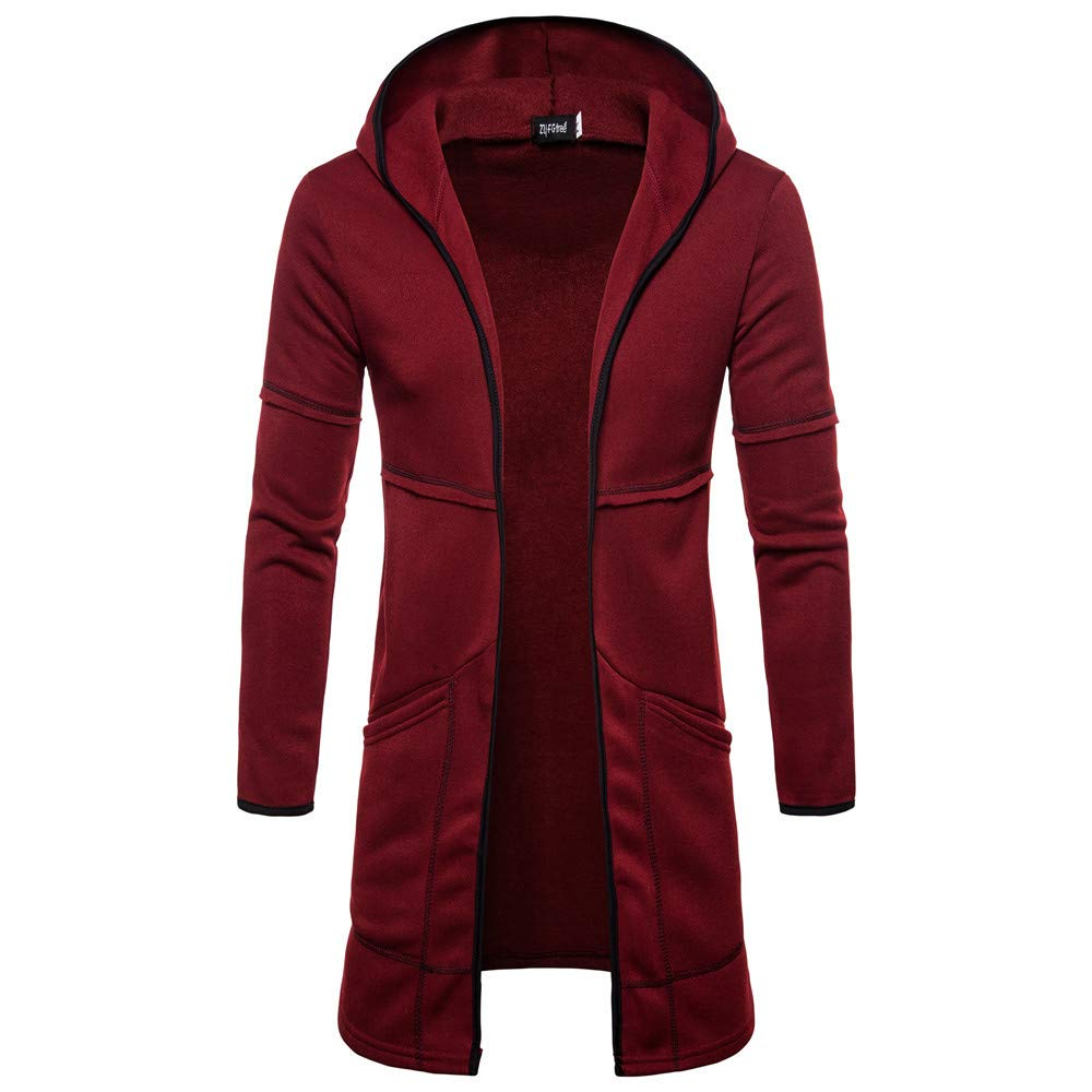 Faionny Mens Hooded Jacket Solid Coat Long Cardigan Coat Poket Windbreaker Long Sleeve Trench Coat Autumn Winter Outwear