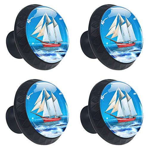 Sailboat Seagull Sea Blue Sky Drawer Knob Pull Handle Crystal Glass Circle Shape Cabinet Drawer Pulls Cupboard Knobs with Screws for Home Office Cabinet Cupboard 4 Pieces