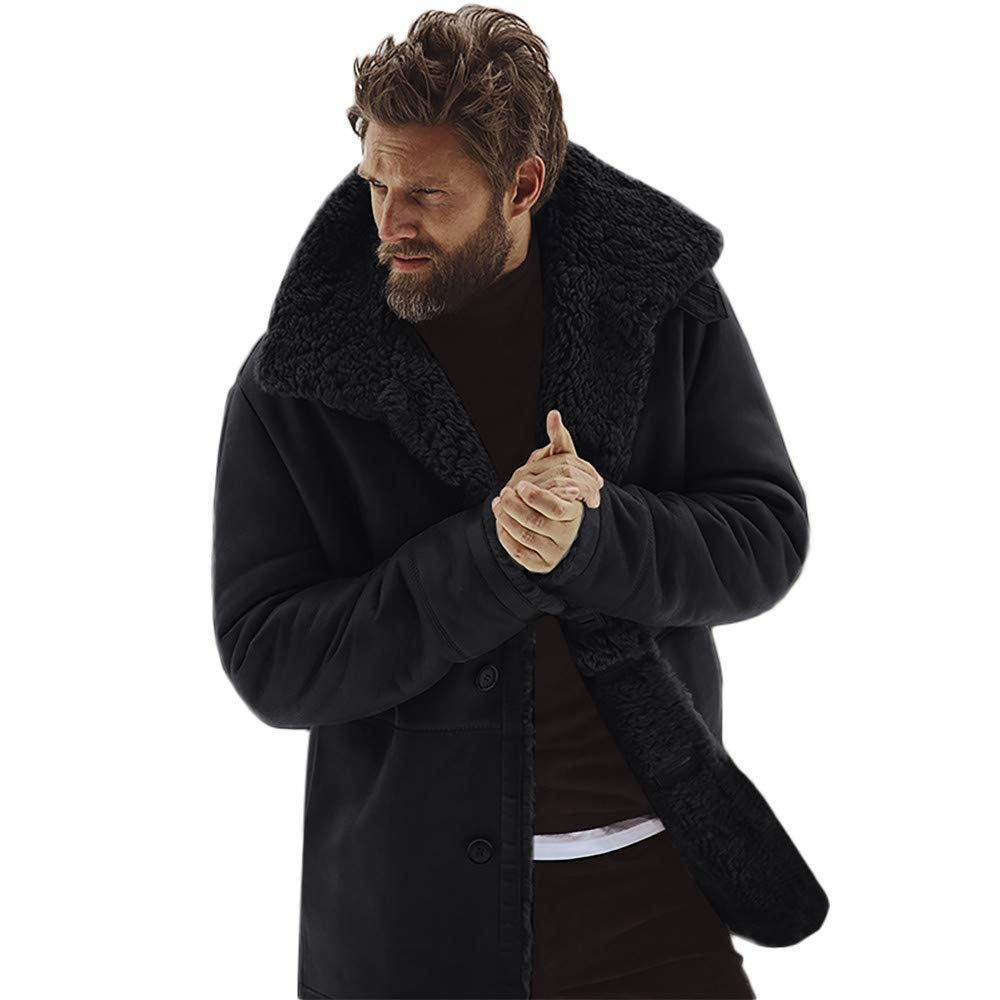 Luxfan Men Winter Faux Fur Long Shearling Jacket Coat Classic Sheepskin Windproof Motorcycle Outwear