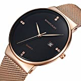 Men's Fashion Date Slim Analog Quartz Watches Black Dial with Stainless Steel Gold Mesh Band