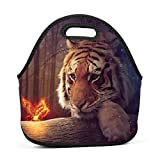 Family Dream Animal Tiger Lunch Bag Portable Handbag Bento Pouch Lunchbox Baby Bag Multifunctional Zipper Satchel for Student Worker Travel Mummy Storage Bag