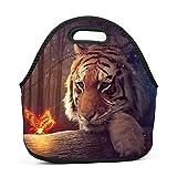 Family Dream Animal Tiger Lunch Bag Portable Handbag Bento Pouch Lunchbox Baby Bag Multifunctional Zipper Satchel for Student Worker Travel Mummy Storage Bag