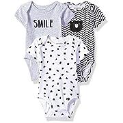 Petit Lem Baby 3 Pack Bodysuit Set, Black, 6M