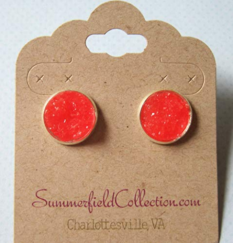 Silver-tone Bright Cherry Red Faux Druzy Stone Stud Earrings 12mm