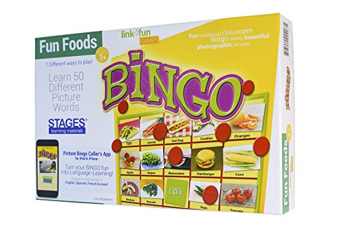 Stages Learning Materials Link4fun Real Photo Fun Food Bingo Game for Family, Preschool, Kindergarten, Elementary Education:  36 Picture Cards and App]()
