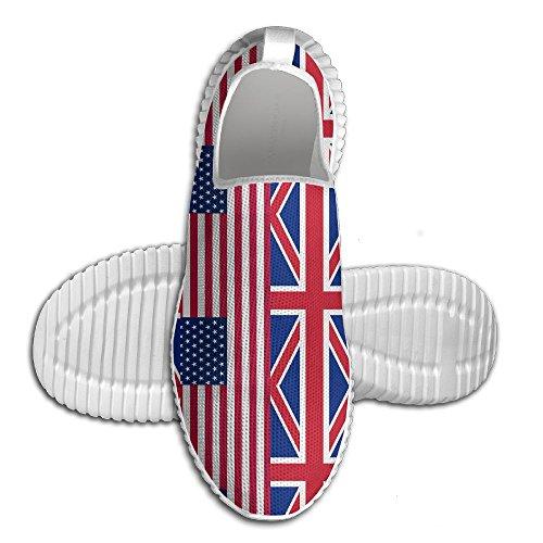 Ägg Ägg Oss Brittiska Flaggan Kvinna Man Loafers Löparskor Andas Mesh Utomhus Sport Promenadskor Vita