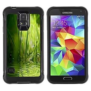 "Pulsar iFace Series Tpu silicona Carcasa Funda Case para Samsung Galaxy S5 V , Wave Agua Lluvia Naturaleza Verde"""