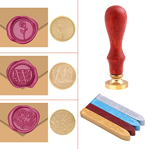 Rockrok Seal Wax Stamp Craft Sealing Supplies for Invitation Card, Postage, Letter, Envelops Embellishment ()